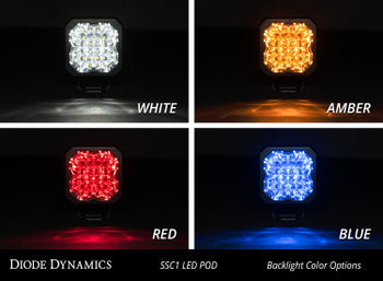 "Diode Dynamics Stage Series 1"" LED Pod Pro White Flood Standard Blue Backlight"