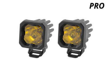 """Diode Dynamics Stage Series 1"""" LED Pod Pro Yellow Flood Standard Amber Backlight"""