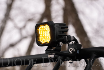 """Diode Dynamics Stage Series 1"""" LED Pod Pro Yellow Flood Standard Amber Backlight (Single)"""