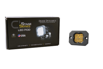"Diode Dynamics Stage Series 1"" LED Pod Sport Yellow Flood Flush Amber Backlight (Single)"