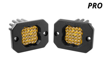 """Diode Dynamics Stage Series 1"""" LED Pod Pro Yellow Flood Flush Amber Backlight"""