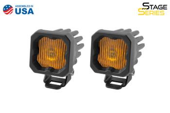 "Diode Dynamics Stage Series 1"" LED Pod Yellow SAE/DOT Fog Standard Amber Backlight"