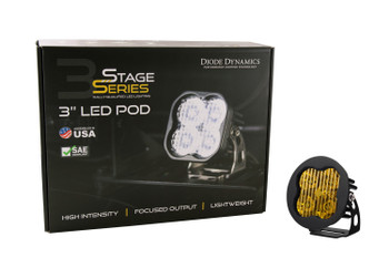 """Diode Dynamics Stage Series 3"""" Max Yellow SAE Fog Round (Single)"""