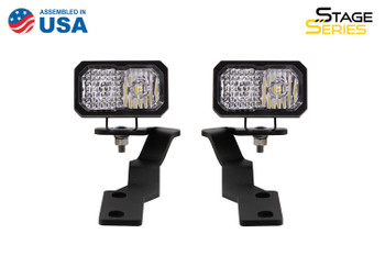 Diode Dynamics Stage Series 2in LED Ditch Light Kit for 2016-2021 Toyota Tacoma, Pro White Combo
