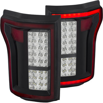 2015-2017 Ford F-150 Anzo DRL Outline LED Tail Lights (Black/Chrome)