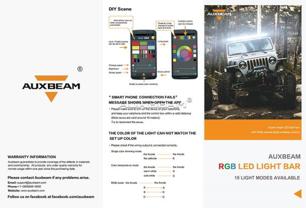 "AuxBeam V-Series 32"" 180W Combo Straight RGB LED Light Bar (5D Projector Lens)"