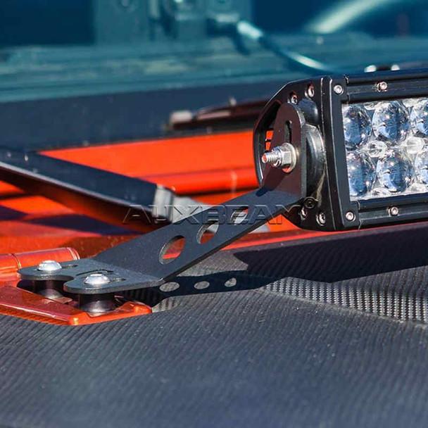 "AuxBeam 22"" Straight LED light bar Hood Mounting Brackets For 07-17 Jeep Wrangler"
