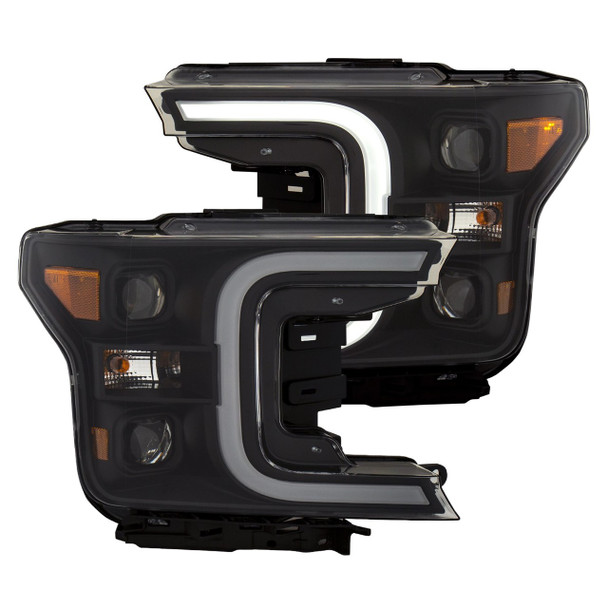 2018+ Ford F-150 Anzo Switchback Outline Projection Headlights (Black Housings)