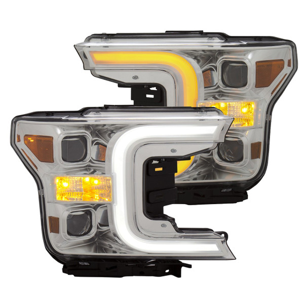 2018+ Ford F-150 Anzo Switchback Outline Projection Headlights (Chrome Housings)
