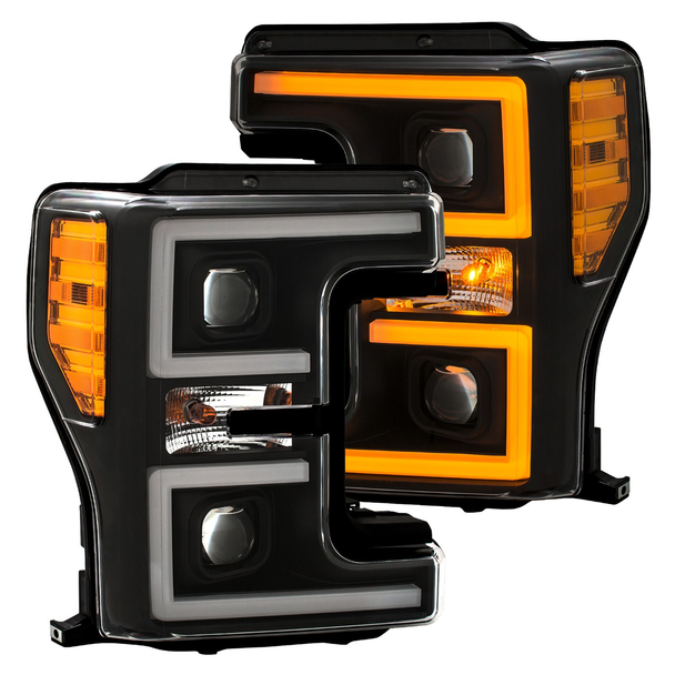 2017+ Ford F-250/F-350/F-450 Anzo Switchback Outline Projection Headlights (Black Housings)