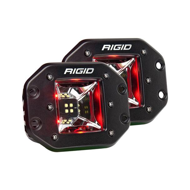 Rigid Industries Radiance Scene Lights, Flush Mount Pair (Red Backlight)