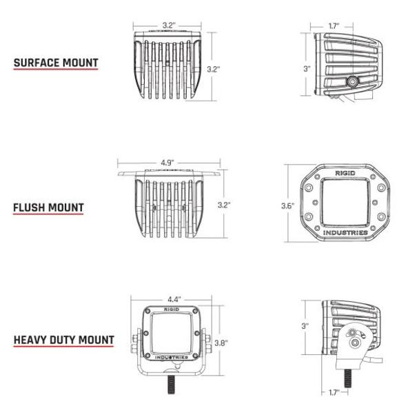 Rigid Industries D-Series Pro, Flood Diffused (Heavy Duty Mount) Pair