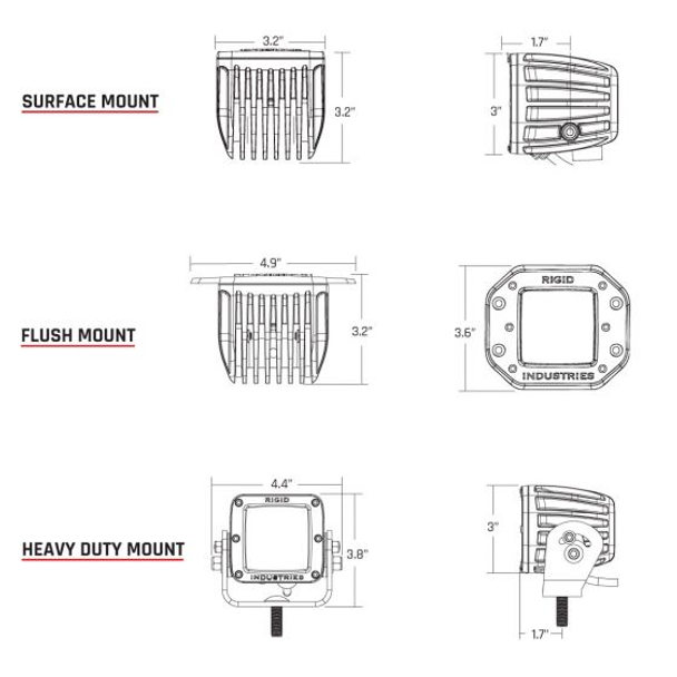 Rigid Industries D-Series Pro, Spot (Flush Mount) Pair