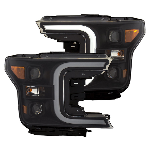 2018+ Ford F-150 Anzo LED Switchback Outline Projection Headlights (Black Housings)