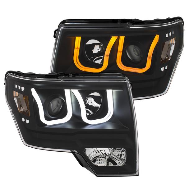 2009-2014 F150 ANZO Switchback U-Bar Projector Headlights (Black)