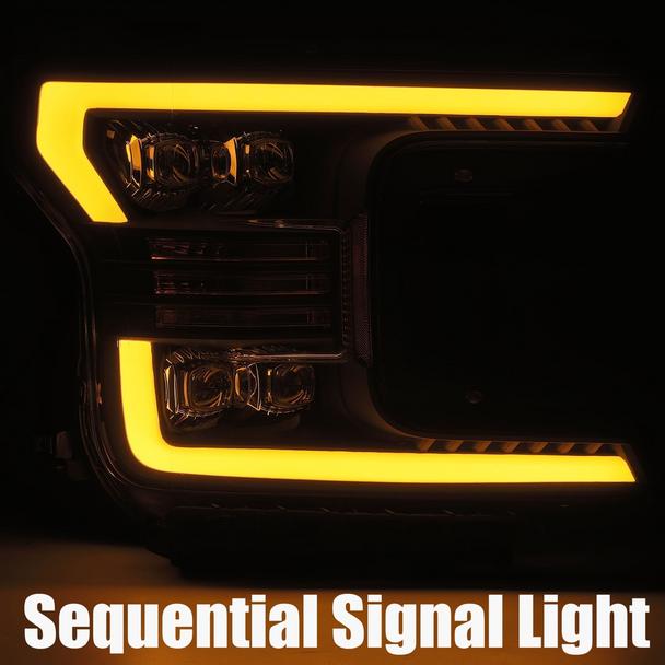 AlphaRex 18-19 Ford F150 NOVA-Series LED Projector Headlights Black