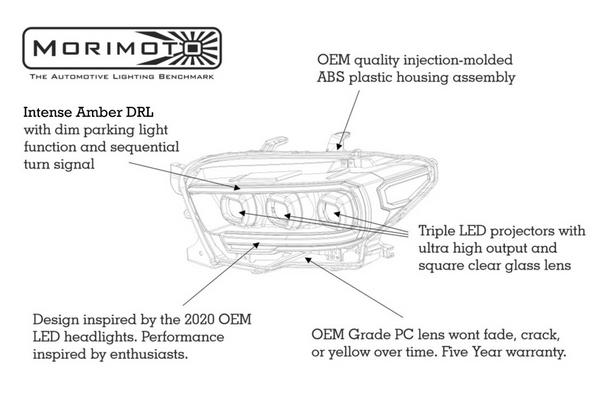 Morimoto XB LED Headlights for 2016-2021 Toyota Tacoma (Amber DRL)