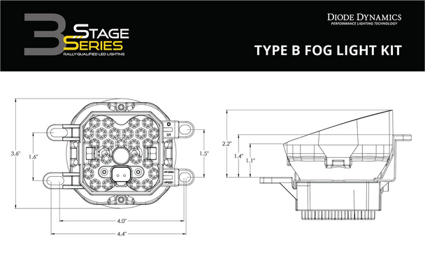 """Diode Dynamics Stage Series 3"""" Fog Light Kit for 2014-2021 Toyota Tundra"""