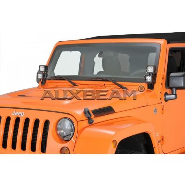 """7.6"""" Dual Light A-Pillar Mounting Brackets for Jeep Wrangler JK"""