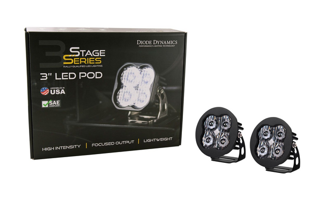 """Diode Dynamics Stage Series 3"""" Sport White SAE Driving Round (Pair)"""