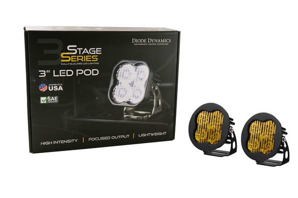 """Diode Dynamics Stage Series 3"""" Sport Yellow Driving Round (Pair)"""