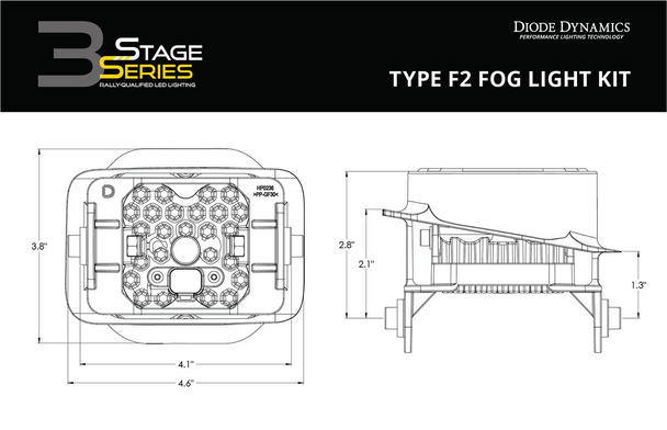 """Diode Dynamics Stage Series 3"""" Sport White SAE Fog Type F2 Fog Kit (2015-2020 Ford F-150, 2017-2021 Ford F-250/F-350)"""