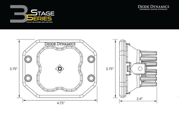 "Diode Dynamics Stage Series 3"" Pro White Flood Flush (Single)"