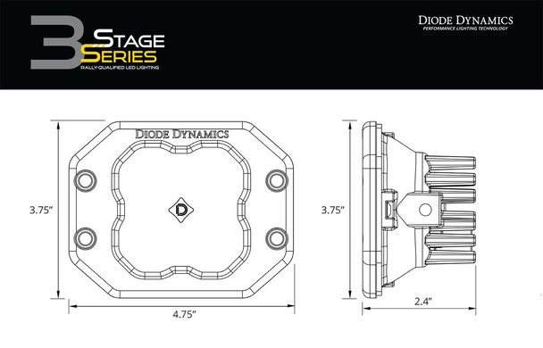 "Diode Dynamics Stage Series 3"" Pro Yellow Spot Flush (Single)"