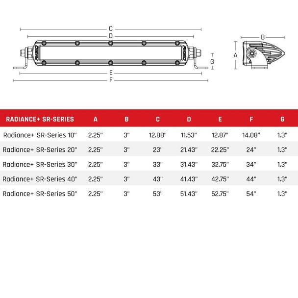 """Rigid Industries Radiance Plus SR-Series LED Light 8 Option RGBW Backlight 40"""""""