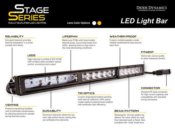 "Diode Dynamics 12"" LED Light Bar Amber Driving"