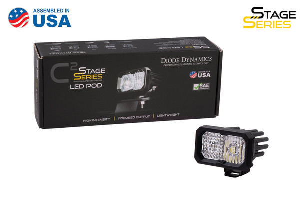 """Diode Dynamics Stage Series 2"""" LED Pod Sport White Driving Standard Amber Backlight (Single)"""