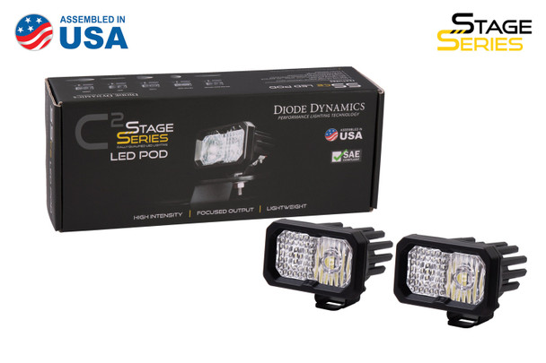 """Diode Dynamics Stage Series 2"""" LED Pod Sport White Combo Standard Blue Backlight"""