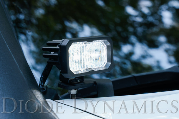 "Diode Dynamics Stage Series 2"" LED Pod Sport White Flood Standard Red Backlight"