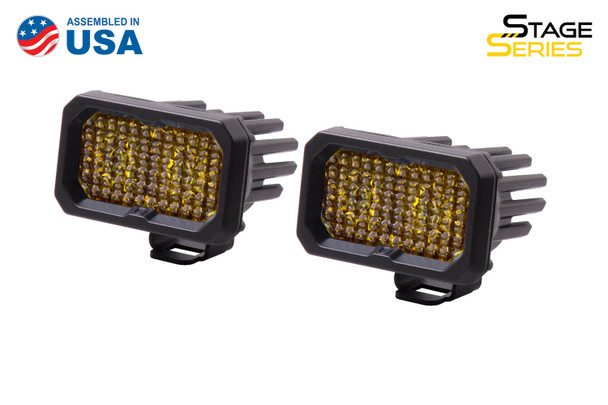 """Diode Dynamics Stage Series 2"""" LED Pod Sport Yellow Flood Standard Amber Backlight"""