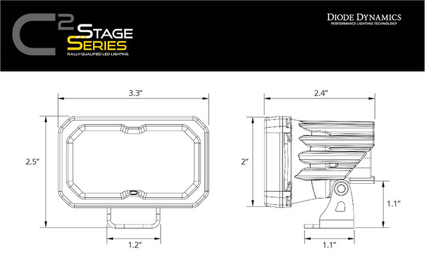 """Diode Dynamics Stage Series 2"""" LED Pod Sport Yellow Flood Standard Amber Backlight (Single)"""
