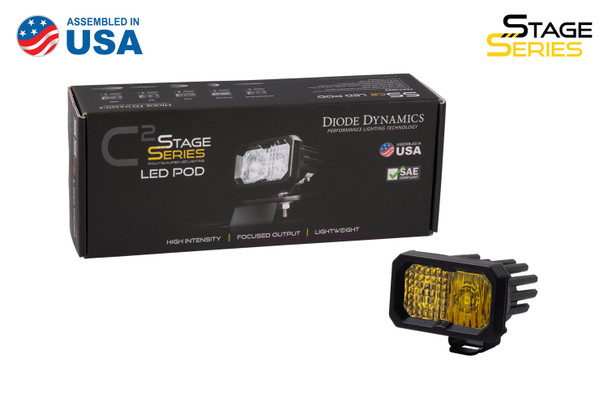 """Diode Dynamics Stage Series 2"""" LED Pod Pro Yellow Flood Standard Amber Backlight (Single)"""