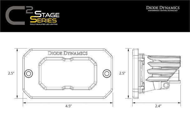"Diode Dynamics Stage Series 2"" LED Pod Sport Yellow Fog Flush Amber Backlight"
