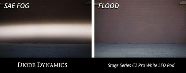 "Diode Dynamics Stage Series 2"" LED Pod Sport White Flood Flush Red Backlight"