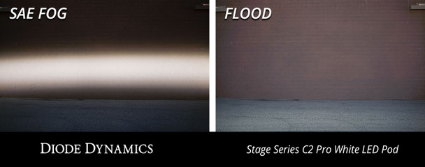 "Diode Dynamics Stage Series 2"" LED Pod Sport White Flood Flush Blue Backlight (Single)"