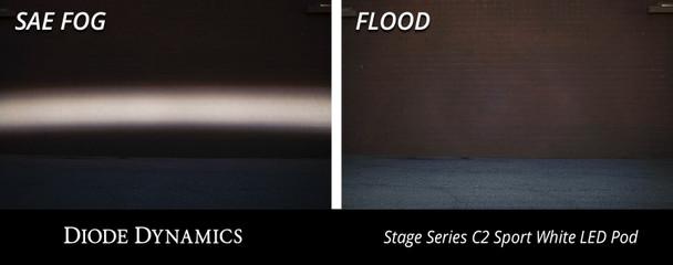 "Diode Dynamics Stage Series 2"" LED Pod Pro White Flood Flush Red Backlight"