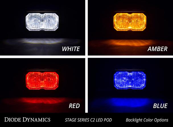 "Diode Dynamics Stage Series 2"" LED Pod Pro White Flood Flush Red Backlight (Single)"