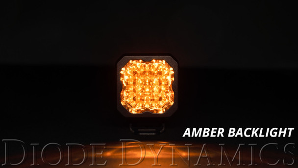 """Diode Dynamics Stage Series 1"""" LED Pod Sport Yellow Flood Standard Amber Backlight"""