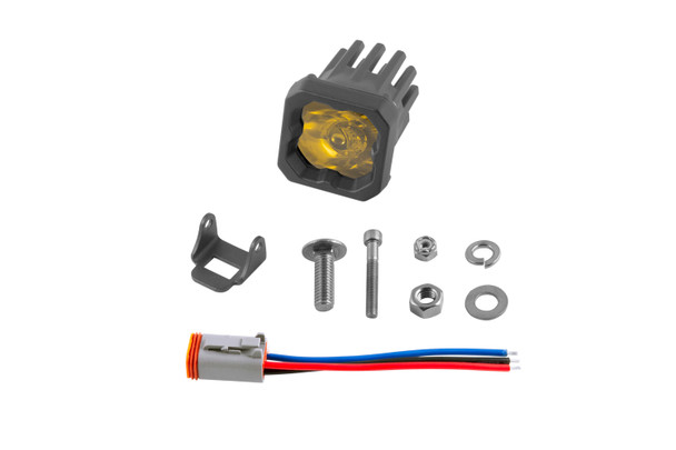 """Diode Dynamics Stage Series 1"""" LED Pod Sport Yellow Flood Standard Amber Backlight (Single)"""