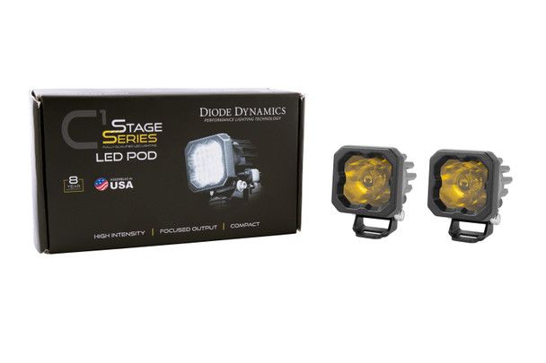 """Diode Dynamics Stage Series 1"""" LED Pod Sport Yellow Spot Standard Amber Backlight"""