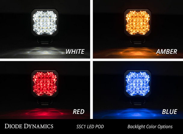"Diode Dynamics Stage Series 1"" LED Pod Pro White Flood Standard Amber Backlight"