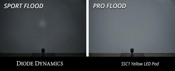 """Diode Dynamics Stage Series 1"""" LED Pod Sport White Flood Flush White Backlight"""