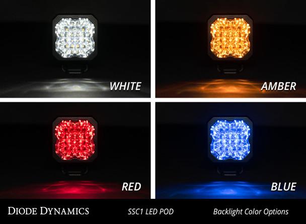 """Diode Dynamics Stage Series 1"""" LED Pod Sport White Flood Flush Amber Backlight"""