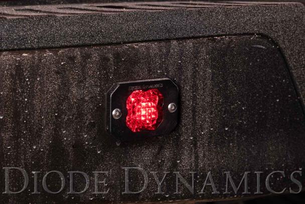 "Diode Dynamics Stage Series 1"" LED Pod Sport White Flood Flush Red Backlight (Single)"