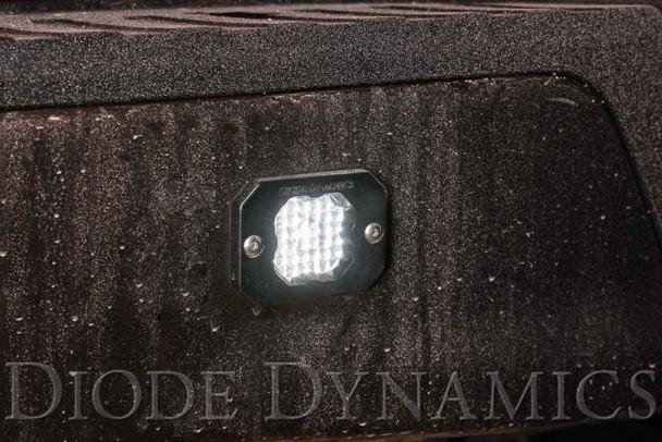 "Diode Dynamics Stage Series 1"" LED Pod Pro White Flood Flush Red Backlight"