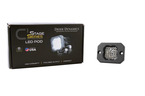 "Diode Dynamics Stage Series 1"" LED Pod Pro White Flood Flush Red Backlight (Single)"